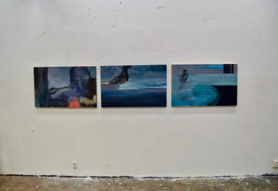 Abstract Landscapes I–III, 2018. Öljy alumiinille / Oil on aluminium, 64 cm x 101 cm / kpl / each.