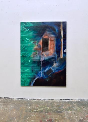 Mökki / Hut 2018. Öljy kankaalle / Oil on canvas, 169 cm x 120 cm.