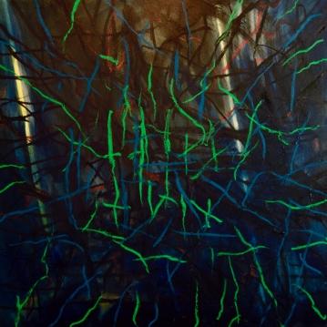 Sikiäminen II, 2019. Öljy kankaalle / Oil on canvas, 100 cm x 100 cm.